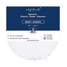 100 Clear Antistatic 3 Mil Plastic Vinyl Record Inner Sleeves For 12'' LP LD