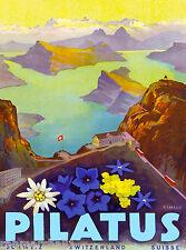 Switzerland Swiss Pilatus Europe European Travel Advertisement Art Poster