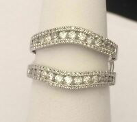 1CT Round Diamonds 14k White Gold Over Enhancer Prongs Set Ring Guard Wrap