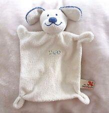 Nicotoy***Doudou plat  chien blanc beige bleu marine  24 cm