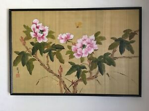 Japanese Painting On Silk – Butterflies And Blossoming Peonies. Artist's seal