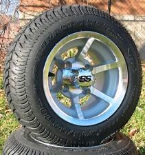 "Set (4) 10"" ITP SS HD Aluminum Golf Cart Car Rim Wheel & 205-50-10 Tires Mounted"