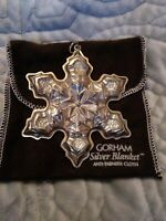 1975 Gorham Sterling Silver Annual Christmas Snowflake Ornament 3 1/2 with Pouch
