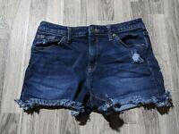 Universal Thread Women Size 8/29 Distressed Fringe High Rise Shortie Jean Shorts