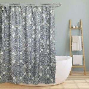 Amy Fabric Shower Bath Curtain Green Navy Blue Flower Paisley Floral 70 x 70