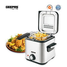 Geepas 1.5L Deep Fat Fryer Basket Oil Fried Chips Fry Food Compact Non-Stick