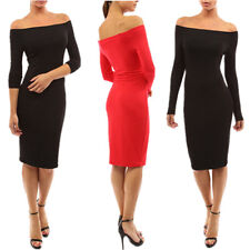 New Women Sexy Off shoulder Long Sleeve Bodycon Cocktail Party Evening Dress