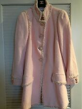 CHANEL13C NEW TWEED PINK Jacket Braided Trim CAMELLIA Gripoix Buttons FR48 $7K