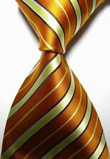 New Classic Stripes Gold Yellow White JACQUARD WOVEN 100% Silk Men's Tie Necktie
