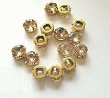 SMOKED TOPAZ CRYSTAL GOLD BASE  SEW ON EMBELLISHMENTS BUTTONS