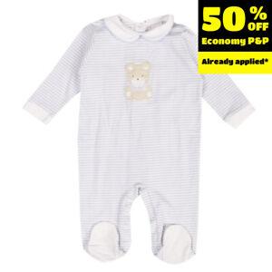 RRP €150 COCCODE Babygrow Size 12M / 76CM Striped Bear Patch Peter Pan Collar