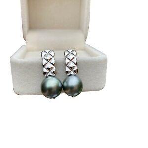 Elegant 10~10.5mm Natural Grey Black Tahitian Seawater Pearl Earring S925 TH73