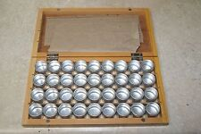 WOODEN BOX WITH 36 ALUMINIUM TINS STORAGE NEW WATCH & HOBBY