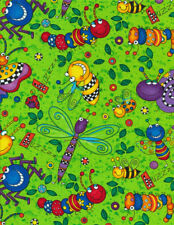 Happy Bugs Fabric on green, fat 1/4s. 100% cotton.C-2602