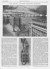 1905 Antique Engineering Print - The Chicago Automatic Telephone Exchange