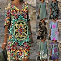 Womens Retro Boho Floral Maxi Dress Ladies Summer Holiday Beach Split Sundress
