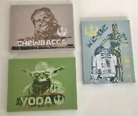 Star Wars set 3 plaque canvas print on wood frame Chewbacca R2-D2 Yoda