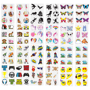 TEMPORARY TATTOOS Sheets Kids Children's Novelty Birthday Party Loot Bag Fillers