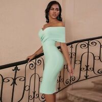 Fashion Women's Green Off Shoulder Bandage Dress Bodycon Dress
