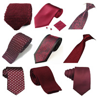 Wine red Burgundy Collection Woven Paisley Silky Knitted Satin Tie Wedding lot