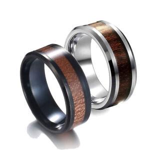 Edelstahl Ring Holz Wood Inlay Holzmaserung silber schwarz braun Herren Damen