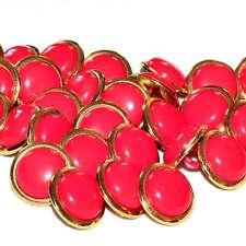 Mercerie Lot de 5 boutons métal doré et plastique rouge vermillon 15mm button