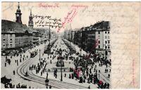 Ansichtskarte Dresden - Die Hauptstrasse mit Passanten und Straßenbahn - 1903