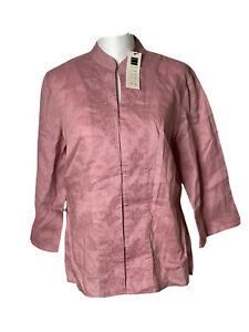 Carole Little Pink Rose 100% Linen Embroidered Boho Blouse Top Size Medium