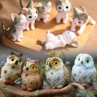 Resin Micro Landscape Ornament Decor Cute Pet Owl Cat Miniature Fairy Garden