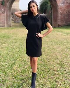 Angysix Damen Schwarzes Cocktailkleid Festliche Kleider Abendkleid Crimplene