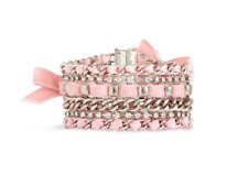 NEW JUICY COUTURE PINK & SILVER CRYSTAL WOVEN VELVET RIBBON CHAIN BRACELET