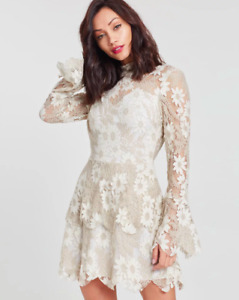 New Missguided Lace long sleeve Cut Out Mini Dress UK 10 RRP- £65