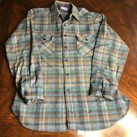 Vtg Pendleton Western Wear Flannel Brown Blue Green Plaid (1 moth hole), Size L