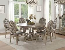 Old World Champagne Finish Dining Room Furniture 7pcs Round Table Chairs Set CB4