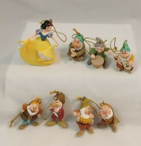 Vintage Disney Christmas Ornaments Snow White and the Seven Dwarves figurine Set