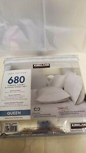 Kirkland Signature 680 TC 100 % Pima Cotton Queen 6 Piece Sheet Set WHITE