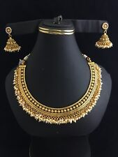 Bollywood Gold Plated Jewelry Necklace  earrings Set