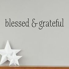 BLESSED & GRATEFUL Simple Wall Decal Vinyl Words Lettering Quote Inspiration