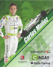 "2014 INDY 500 CARLOS MUNOZ COLUMBIA  ANDRETTI AUTOSPORT INDYCAR 8""X10"" HERO CARD"