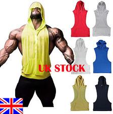 UK Men Gym Bodybuilding Hoodie Muscle Sleeveless Fitness Racerback Tank Top Vest