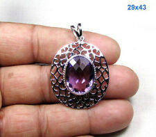 8.11 ct Amethyst Faceted Gemstone 925 Sterling Silver Jewelry Fine Work Pendant
