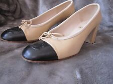 Chanel Cap Toe Block Heel Pumps Heels Shoes Amazing Condition 38.5 8.5 France