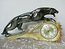 Vintage Jema Holland Original Clock Black Panther Lustre Ceramic Retro W Germany