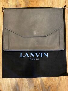 LANVIN Gray Leather Computer/Document Holder