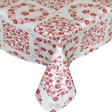 TRADITIONAL RED FLORAL HEARTS NATURAL BEIGE PVC PLASTIC VINYL TABLE CLOTH COVER