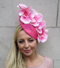 Hot Light Pink Orchid Flower Saucer Disc Hat Fascinator Headband Wedding 5883