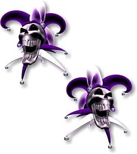 Vinilo STICKER/DECAL extra pequeño 50mm bufón riendo cráneo púrpura-Par