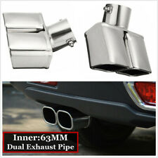 Stainless Steel Car Rear Dual Exhaust Pipe Tail Muffler Tip Throat 63mm Tailpipe