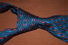 TURNBULL & ASSER TIE MENS SILK TWILL Blue Red Green White Diamonds Dots