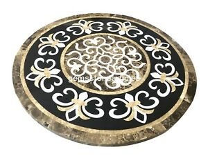 "24""x24"" Marble Round Inlaid Work Coffee Table Tops Marquetry Christmas Gifts"
